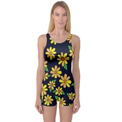Daisy Flower Pattern For Summer One Piece Boyleg Swimsuit