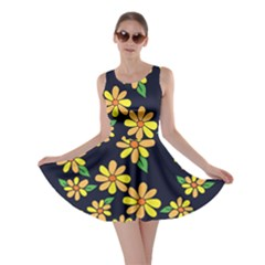 Daisy Flower Pattern For Summer Skater Dress