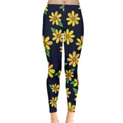Daisy Flower Pattern For Summer Leggings