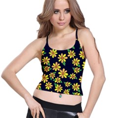 Daisy Flower Pattern For Summer Spaghetti Strap Bra Top