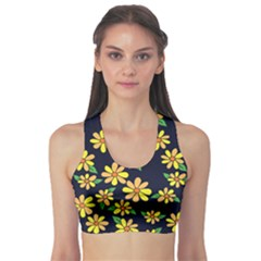 Daisy Flower Pattern For Summer Sports Bra