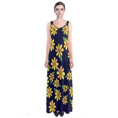 Daisy Flower Pattern For Summer Sleeveless Maxi Dress