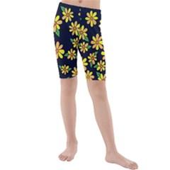 Daisy Flower Pattern For Summer Kids  Mid Length Swim Shorts