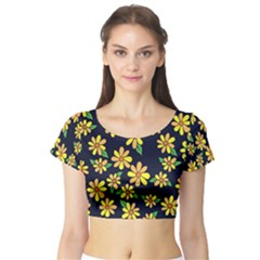 Daisy Flower Pattern For Summer Short Sleeve Crop Top (tight Fit)