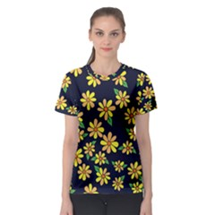 Daisy Flower Pattern For Summer Women s Sport Mesh Tee