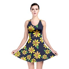Daisy Flower Pattern For Summer Reversible Skater Dress