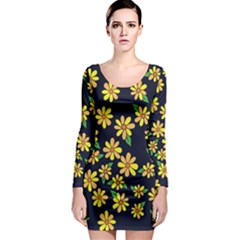 Daisy Flower Pattern For Summer Long Sleeve Bodycon Dress