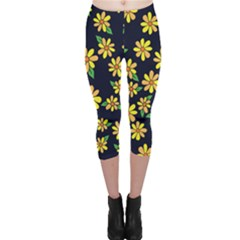 Daisy Flower Pattern For Summer Capri Leggings