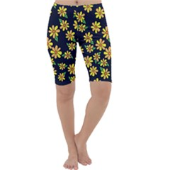Daisy Flower Pattern For Summer Cropped Leggings
