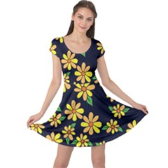 Daisy Flower Pattern For Summer Cap Sleeve Dresses
