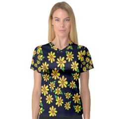 Daisy Flower Pattern For Summer Women s V-Neck Sport Mesh Tee
