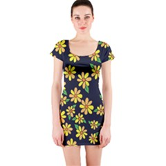 Daisy Flower Pattern For Summer Short Sleeve Bodycon Dress