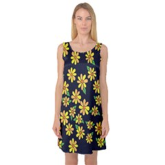 Daisy Flower Pattern For Summer Sleeveless Satin Nightdress