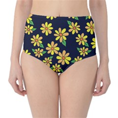 Daisy Flower Pattern For Summer High-Waist Bikini Bottoms