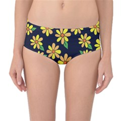 Daisy Flower Pattern For Summer Mid Waist Bikini Bottoms