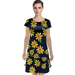 Daisy Flower Pattern For Summer Cap Sleeve Nightdress