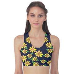 Daisy Flower Pattern For Summer Women s Reversible Sports Bra