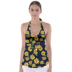 Daisy Flower Pattern For Summer Babydoll Tankini Top