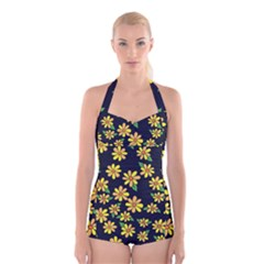 Daisy Flower Pattern For Summer Boyleg Halter Swimsuit