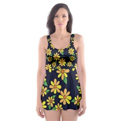 Daisy Flower Pattern For Summer Skater Dress Swimsuit