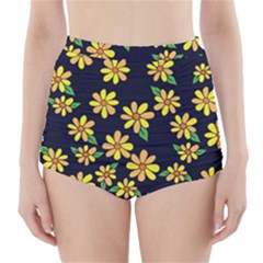 Daisy Flower Pattern For Summer High-Waisted Bikini Bottoms