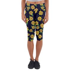 Daisy Flower Pattern For Summer Capri Yoga Leggings