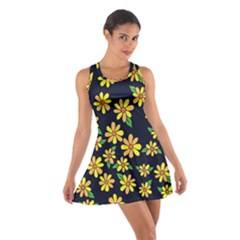 Daisy Flower Pattern For Summer Cotton Racerback Dress