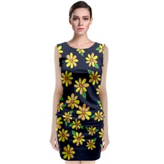Daisy Flower Pattern For Summer Classic Sleeveless Midi Dress