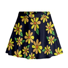Daisy Flower Pattern For Summer Mini Flare Skirt