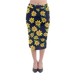Daisy Flower Pattern For Summer Midi Pencil Skirt