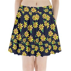 Daisy Flower Pattern For Summer Pleated Mini Skirt