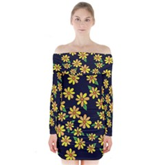 Daisy Flower Pattern For Summer Long Sleeve Off Shoulder Dress