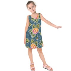 Floral Fantsy Pattern Kids  Sleeveless Dress