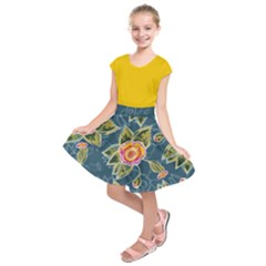 Floral Fantsy Pattern Kids  Short Sleeve Dress