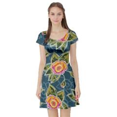 Floral Fantsy Pattern Short Sleeve Skater Dress