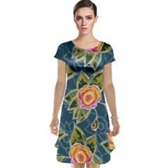 Floral Fantsy Pattern Cap Sleeve Nightdress