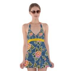 Floral Fantsy Pattern Halter Swimsuit Dress
