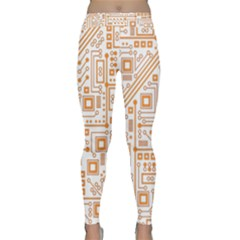 Evil Robot Circuit Orange Yoga Leggings