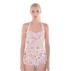 Evil Robot Circuit Orange Boyleg Halter Swimsuit