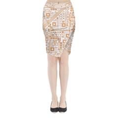 Evil Robot Circuit Orange Midi Wrap Pencil Skirt