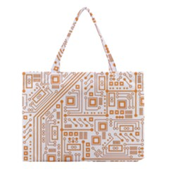Evil Robot Circuit Orange Medium Tote Bag