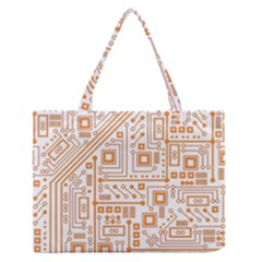 Evil Robot Circuit Orange Medium Zipper Tote Bag