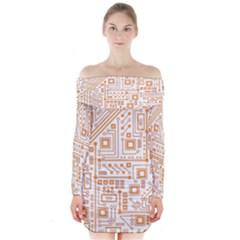 Evil Robot Circuit Orange Long Sleeve Off Shoulder Dress