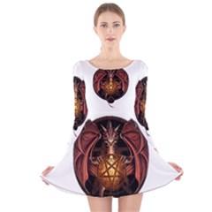 Fantasy Dragon Long Sleeve Velvet Skater Dress