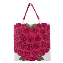 Floral Heart Grocery Tote Bag