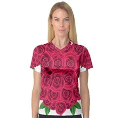 Floral Heart Women s V-Neck Sport Mesh Tee