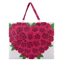 Floral Heart Zipper Large Tote Bag