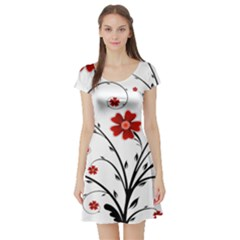 Flower Vector Art Short Sleeve Skater Dress