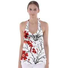 Flower Vector Art Babydoll Tankini Top