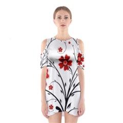 Flower Vector Art Cutout Shoulder Dress